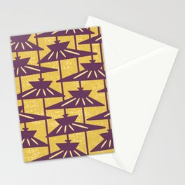 Mid Century Modern Pendant Lamp Composition Yellow and Plum Stationery Cards