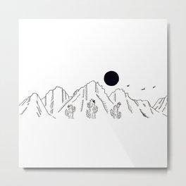 Desert Cacti Mountain Range Landscape Scene Illustration Metal Print