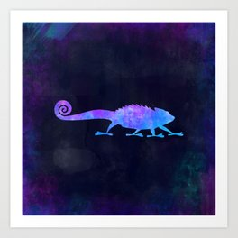 CHAMELEON IN SPACE // Animal Graphic Art // Watercolor Canvas Painting // Modern Minimal Cute Art Print