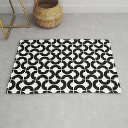 Black and White Mid-Century Modern Geometric Pattern Rug