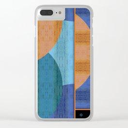 Orange Blues Geometric Shapes Clear iPhone Case