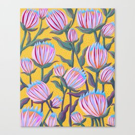 Bold Protea Flower Pattern - Pink Blue Green Purple Yellow Canvas Print