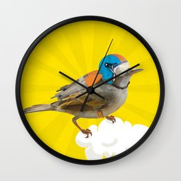 Little bird on little cloud Wall Clock