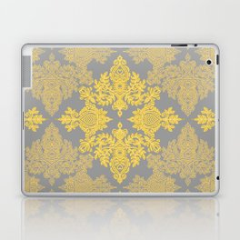 Golden Folk - doodle pattern in yellow & grey Laptop & iPad Skin