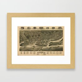 Vintage Pictorial Map of Dubuque IA (1889) Framed Art Print