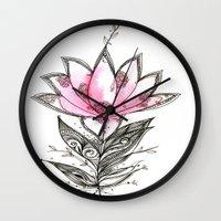 lotus Wall Clocks featuring Lotus by Himadri Pachori