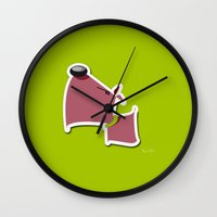 quibe Wall Clocks featuring Angry Dawg by quibe