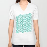 mint V-neck T-shirts featuring Mint Herringbone by Cat Coquillette