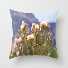Prickly Pear Cactus Blooms, II Throw Pillow