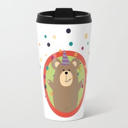 Party Bear with Spots in cirlce Travel Mug