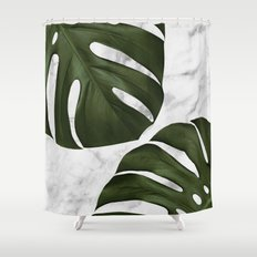 Marble Monstera Shower Curtain