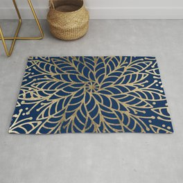 Modern chic navy blue faux gold floral mandala Rug