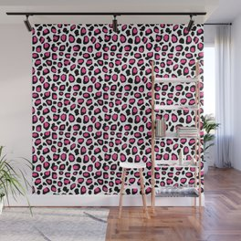Leopard Animal Print Hot Pink Black Spots Wall Mural