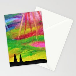 The Aurora - Northern Lights Abstract Oil Painting Stationery Cards