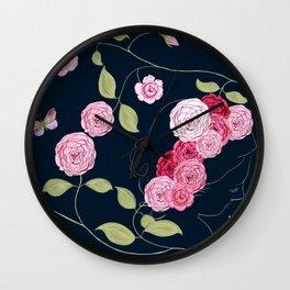 Pink Damask Roses Wall Clock