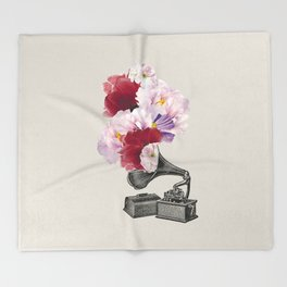 Flower gramophone Throw Blanket