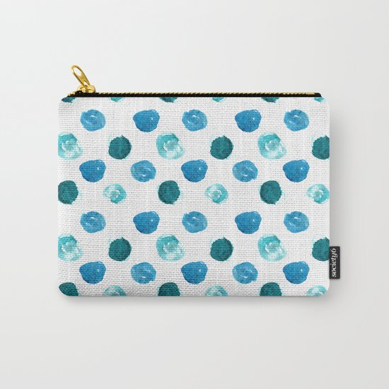 Blue watercolor polka dot pattern Carry-All Pouch