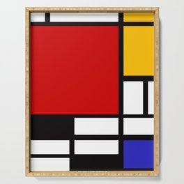 Piet Mondrian - Composition with Red, Yellow, and Blue 1942 Artwork Serving Tray