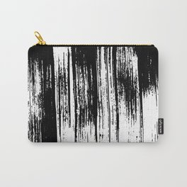 Modern black white watercolor brushstrokes pattern Carry-All Pouch