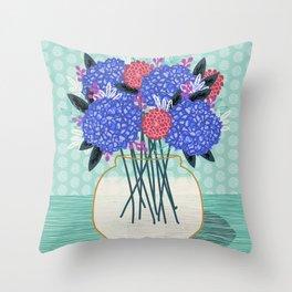 Hydrangeas Vase of cut flowers gardening gardener nature spring summer floral bloom Andrea Lauren Throw Pillow