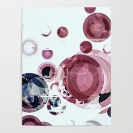 Distressed Decorative Pink Circle Pattern Poster