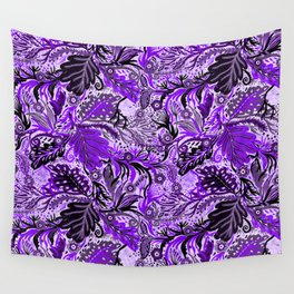 Ultraviolet Flower Field, Purple Lilac Leaves &  Intricate Lavender Floral Blooms Pattern Wall Tapestry