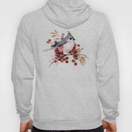 Titmouse and Berries, red fall colors, birds and flowers vintage style east coast Hoody