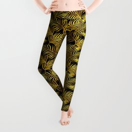 Palm Leaves_Gold and Black Leggings