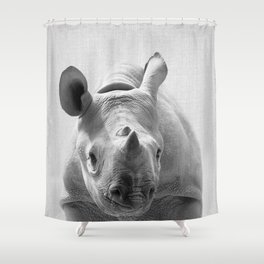 Baby Rhino - Black & White Shower Curtain