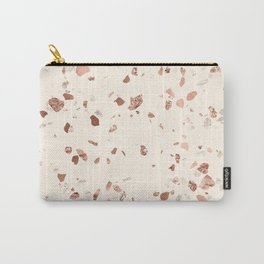 Rose Gold and Cream Terrazzo Carry-All Pouch