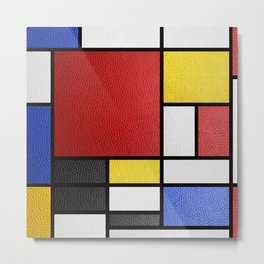 Mondrian in a Leather-Style Metal Print