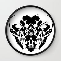 rorschach Wall Clocks featuring Rorschach  by yayanastasia