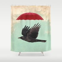 magritte Shower Curtains featuring Raven Cover by Vin Zzep