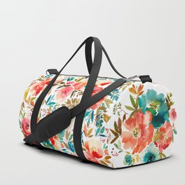 Red Turquoise Teal Floral Watercolor Duffle Bag