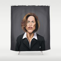 wes anderson Shower Curtains featuring Celebrity Sunday ~ Gillian Anderson by rob art | illustration
