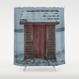 Snow Covered Outhouse Rural Michigan Winter Field Shower Curtain