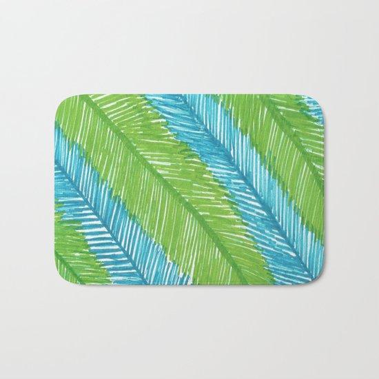 Blue and Green Palm Leaves Bath Mat