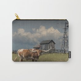 Longhorn Steer in a Prairie pasture by 1880 Town with Windmill and Old Gray Wooden Barn Carry-All Pouch