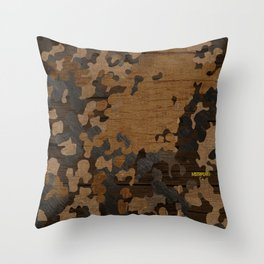 Modern Woodgrain Camouflage / Flecktarn Print Throw Pillow