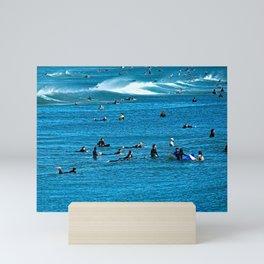 Surfers Waiting for a Wave Seascape Mini Art Print