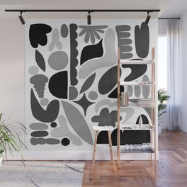 Modern Organic Abstract / Black and Grays on a White Background Wall Mural
