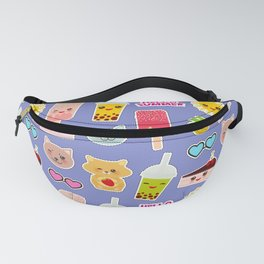 Hello Summer Pineapple, cherry smoothie cup, ice cream, sun, cat, cake, hamster. Kawaii cute face. Fanny Pack