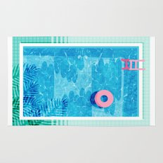 Chillin' - poolside palm springs vacation resort tropical swim swimming retro neon throwback 1980s Rug