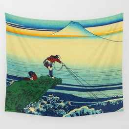 Vintage Japanese Art - Man Fishing Wall Tapestry