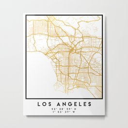 LOS ANGELES CALIFORNIA CITY STREET MAP ART Metal Print