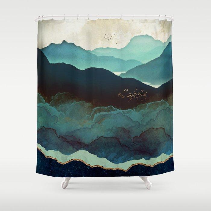 Indigo Mountains Shower Curtain