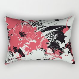 tropical flower silhouettes in red Rectangular Pillow