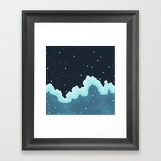 Pixel Snowfall Galaxy Framed Art Print