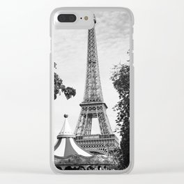 Paris in Black and White, Eiffel Tower Clear iPhone Case