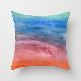 Rainbow Watercolor Texture Throw Pillow